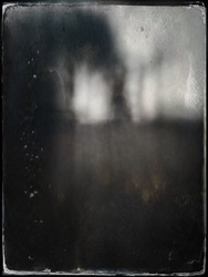 Tintype treated abstract picture of trees outside a back porch.