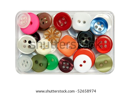 Tiny buttons in box - isolated.