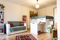 Tiny home - garsoniere - livingroom, bedroom and kitchen after reconstruction in Prague