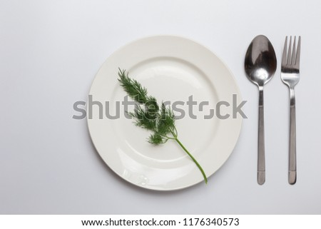 tiny little green herb on a plate in the middle, cutlery on white background. concept of diet, healthy food, small portions, natural.