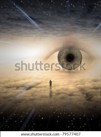 Tiny man in dreamlike landscape made of clouds