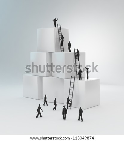 Tiny people climbing ladders to get to the top. Teamwork concept