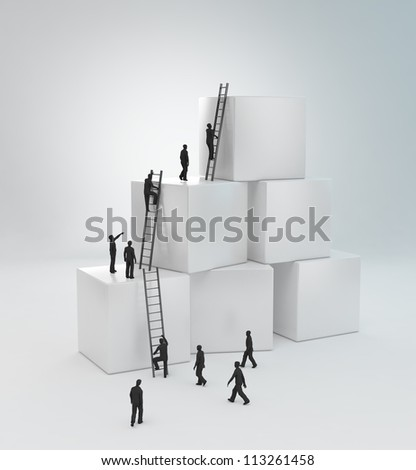 Tiny people climbing ladders to get to the top Teamwork concept