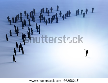 Tiny people listening to a leader