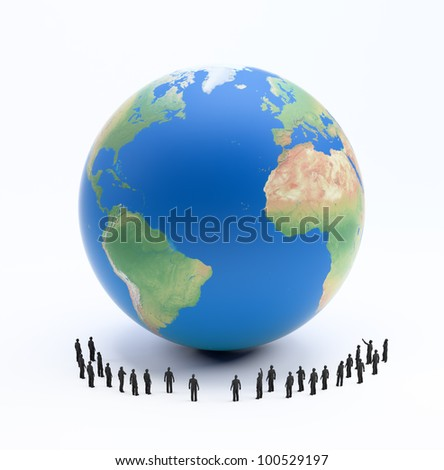 Tiny people standing around Earth globe