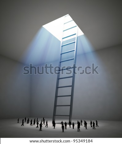 Tiny people walking in the direction of a ladder leading up to the light