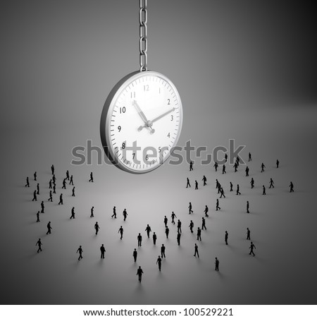 Tiny people walking to a large clock