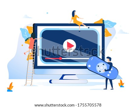 Tiny people watch video with remote control and television multimedia box. Smart TV box, smart tv console, make your TV smart concept. Bright vibrant violet isolated illustration. TV box