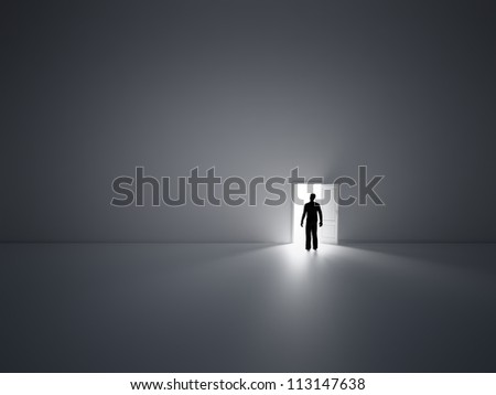 Tiny person walking into open doors - stock photo