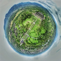 Tiny planet of the magnificent Borobudur temple.