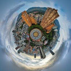 Tiny Planet shot of Bogota bulls arena