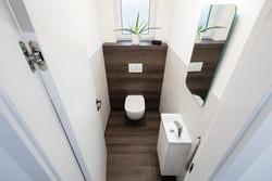 Tiny restroom of contemporary apartment