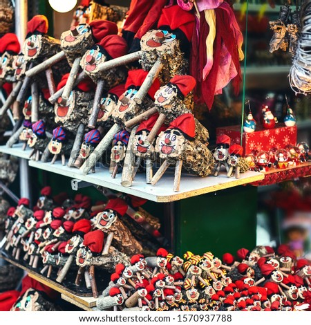 tio de nadal, Christmas character of catalonia, Christmas market in Barcelona. square frame. Zdjęcia stock ©