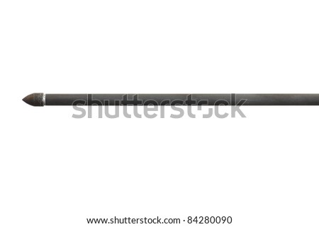 Tip of an arrow with a carbon fiber shaft isolated on white