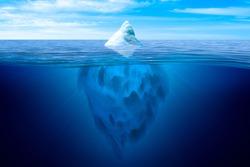 Tip of the iceberg. Underwater iceberg floating in ocean.