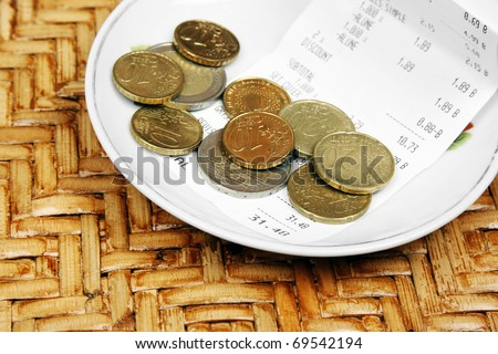 Tip on a restaurant table - stock photo