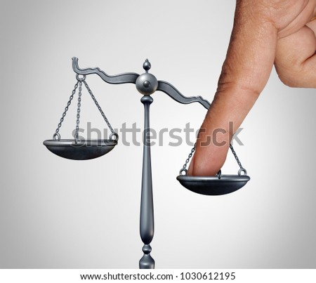 Tip the scales of justice concept as a the finger of a person illegaly influencing the legal system for an unfair advantage with 3D illustration elements. Сток-фото ©