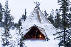 Tipi in Lapland,Sweden, in Winter