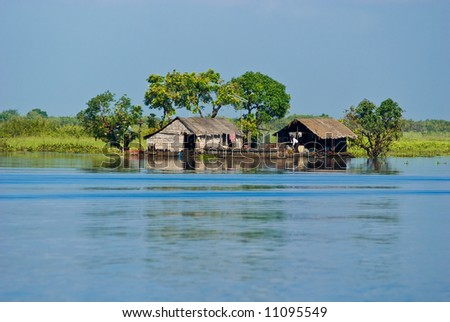 Tipical Houseboat in the Mekong River near battambang, Cambodia.