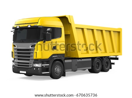 Tipper Dump Truck Isolated. 3D rendering