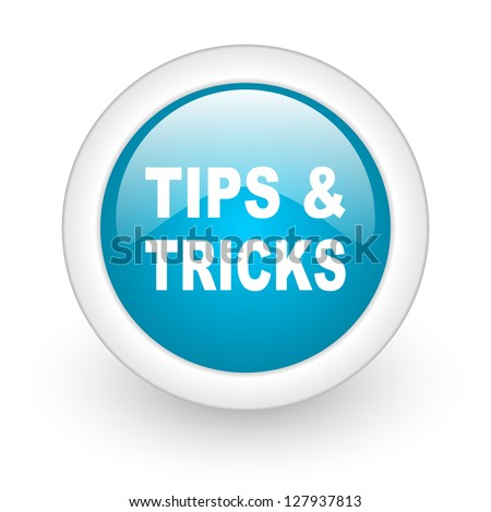 tips blue circle glossy web icon on white background