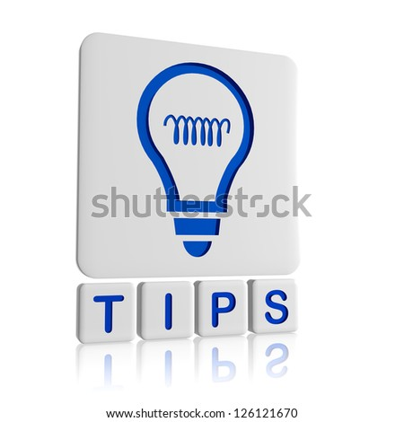 Tips 3d blue icon of bulb and text