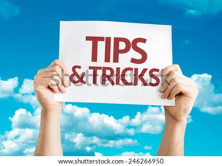 Tips & Tricks card with sky background
