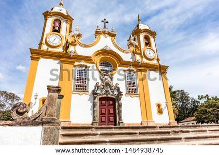 Tiradentes Mother Church, Santo Antonio Catholic Church seen in the morning with blue sky in city Tiradentes, Minas Gerais, Brazil