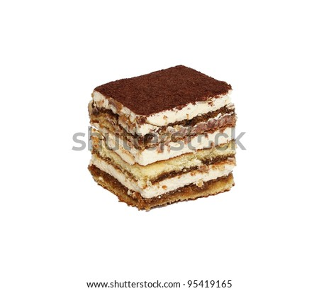 tiramisu cake  isolated on white