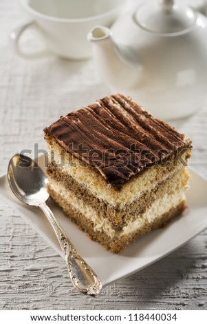 Tiramisu cake on white plate close up shoot