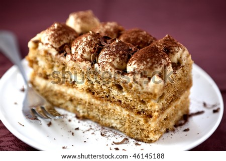 Tiramisu cake with cocoa and chocolate