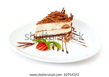 Tiramisu - classical dessert with with strawberry and mint