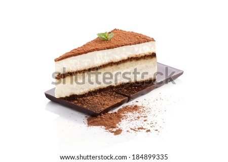 Tiramisu dessert on chocolate bar isolated on white background. Italian sweet dessert concept.