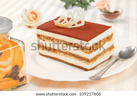 tiramisu dessert on plate and silver spoon