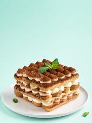 Tiramisu , italian layered dessert with mascarpone cream, decorated with mint and cocoa powder.