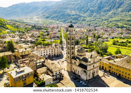 Tirano - Valtellina (IT) - Aerial view of the city and the Sanctuary of the Blessed Virgin