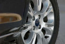 tire and alloy wheel on a passenger car
