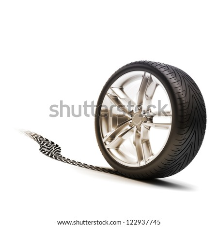 Tire and rim with tread on a white background. - stock photo