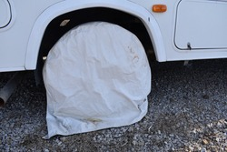Tire cover on a camper