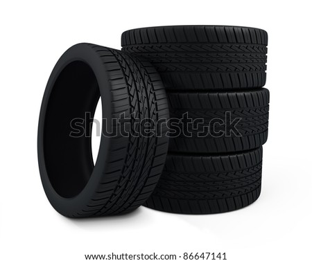 Tire perspective view (rendering, isolated on white and clipping path)