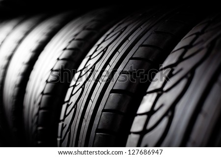 Tire stack background.  Selective focus. #127686947