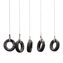 Tire swing for adventure training camp isolated on white background with clipping path