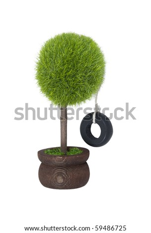 Tire swing hanging from a potted tree reminiscent of childhood - path included