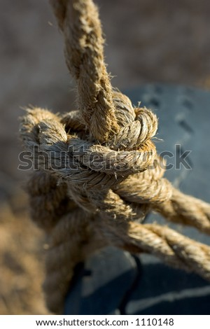 Tire Swing Knot Close-Up - stock photo