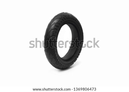 Tire. Tire. The tire from the electric scooter. Wheel from a scooter on a white background. #1369806473
