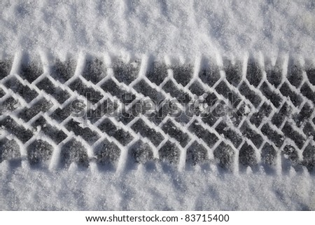 Tire Track In Snow, Quebec, Canada