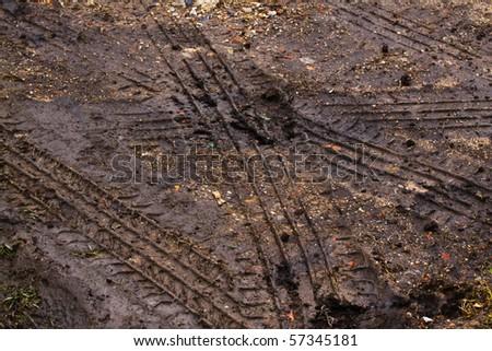 Tire tracks - stock photo