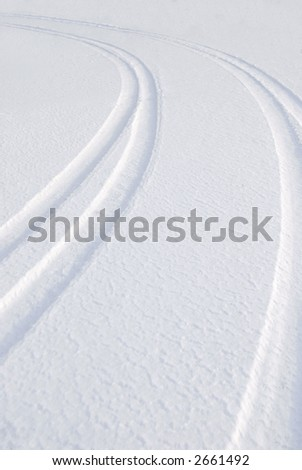 Tire tracks in snow - vetrically