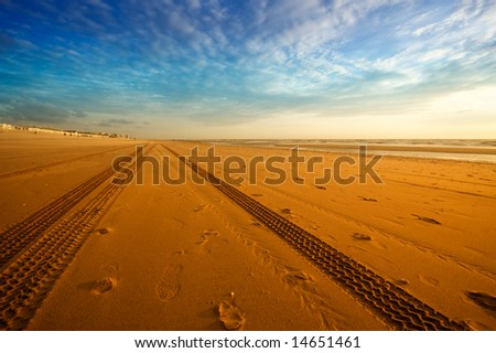 tire tracks on the beach - stock photo