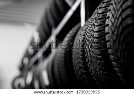 tire tread - vulcanization service - summer / winter Foto stock ©